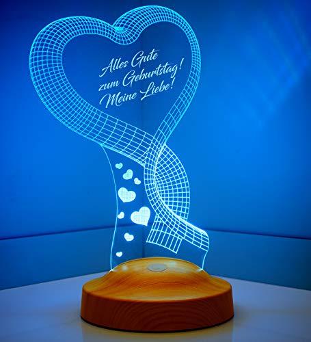 Personalisierte Geschenke Premium 3D Led Lampe Muttertagsgeschenk Nachttischlampe Ein Herz für Weihnachten Geburtstag Partnergeschenk