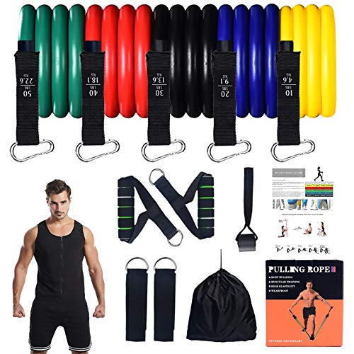 12PCS Strong Resistance Bands Set-Exercise Bands for Working Out-Home/Gym/Indoor/Outdoor Resistance Band System-Resistance Bands with Door Anchor