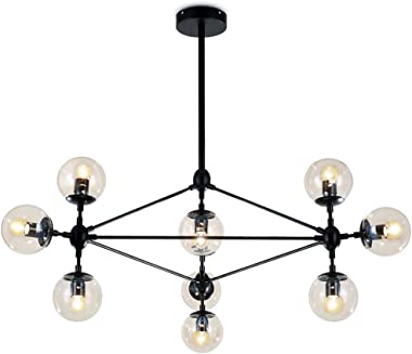 Lampundit DNA Chandelier Lighting 10 Light Chandelier Nordic Modern Magic Bean Chandelier with Globe Glass Shade, Industrial