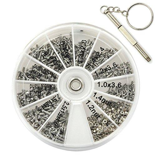 EZakka 1000-teiliges Sortiment mit sehr kleinen Schrauben und Muttern, mit Mikro-Schraubendreher, für Brille, Handy und Uhren