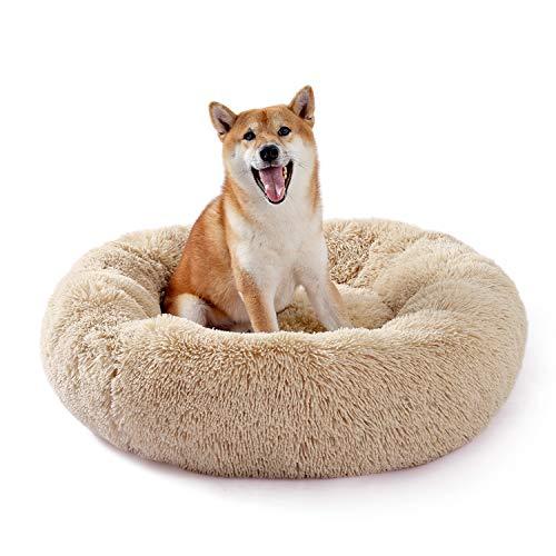 UMI Amazon Brand Hundebett Plüsch weich warm Donut Haustierbett für Hund Flauschiges kuscheliges Schlafbett Multi-Size-Haustier Sofa für klein-mittelgroße Hunde maschinenwaschbar beige M