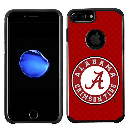 Prime Brands Group Textured Team Color Cell Phone Case for Apple iPhone 8 Plus/7 Plus/6S Plus/6 Plus - NCAA Licensed University of Alabama Crimson Tide