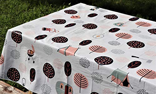 "Crabtree Collection Vinyl Tablecloth: Indoor/Outdoor Dining Flannel Backed Table Cover| Home, Restaurant, Party Tablecloth| Easy To Clean & Sturdy| Picnic, Bbq, Fun Print Tablecloth (Camping 60""x102"")"