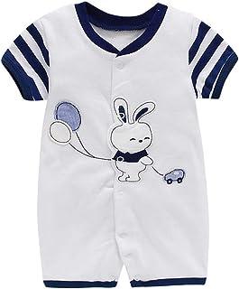 Mameluco de Manga Corta para Unisexo Bebé Recién nacido Mono de Algodón Peleles Lindo Pijama Body de Verano, 3-6 Meses
