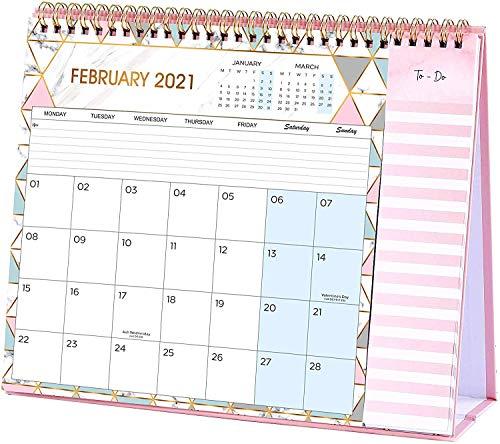 Calendrier de bureau 2021, calendrier 2021 mois à afficher avec 2 poches, s'étend de janvier 2021 à décembre 2021, liste de tâches, 26,5 x 21,5 x 8,5 cm