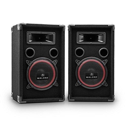 Malone PW-220-P - due altoparlanti PA, box passivo PA, potenza 2 x 1500 watt, woofer da 20 cm (8'), andamento di frequenza: da 50 Hz a 20 kHz, griglia di protezione, Maniglie di trasporto, nero