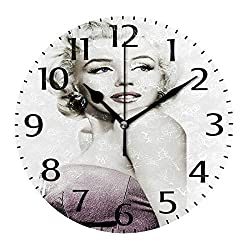 simono 10-inch Silent Non-Ticking Round Wall Clocks Marilyn Monroe Prints Desk Clock, Battery Operated Easy to Read Clock for Living Room Home Office