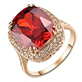 Yoursfs Big Halo Austrian Crystal Red Fashion Rings for Women 18K Gold Plated Ruby Cocktail Ring Jewellery