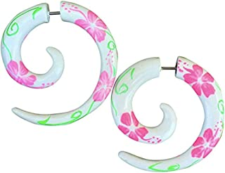 UMBRELLALABORATORY Tropical Tribal Organic Earrings Fake Plugs Illusion Tapers Sold AS Pair