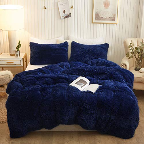 XeGe Plush Shaggy Duvet Cover Set Luxury Ultra Soft Crystal Velvet Bedding Sets 3 Pieces(1 Faux Fur Duvet Cover + 2 Faux Fur Pillowcases),Zipper Closure(Queen,Navy Blue)