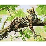 Joilkmgg Pintar por Numeros Leopardo Animal Pintar por Numeros Kits Adultos Niños Pintura por Numeros con Pinceles Lienzo y Pinturas Acrilicas 40X50cm Sin Marco
