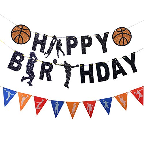Basketball Banner Birthday Decoration Happy Birthday Basketball Theme Glitter Touch Garland Sign for Boy's Sport Theme Basketball Party Baby Shower Supplies (Banner)