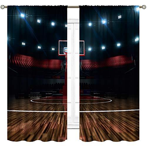 Cinbloo Men Basketball Curtains Boys Bedroom Rod Pocket Sports Kids Teen Stadium Cool Arena Thrill Field Modern Art Printed Living Room Window Drapes Treatment Fabric 2 Panels 42 (W) x 63(L) Inch