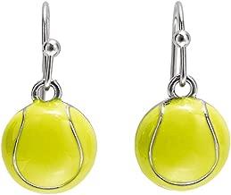 GIMMEDAT Tennis Ball Enamel Dangle Earrings  Lead & Nickel Free   Player or Fan Gift