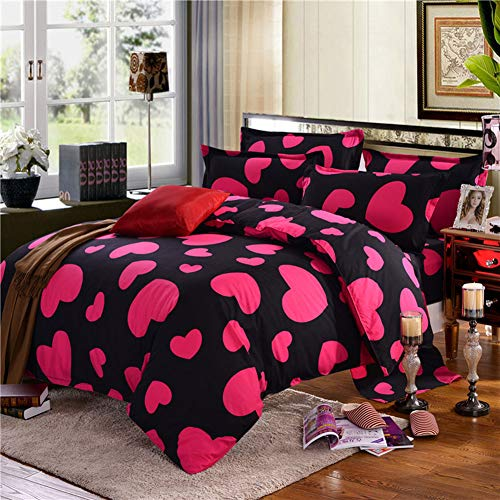 Duvet Cover Love Heart Double Soft Touch Poly Cotton Quilt Covers with Pillowcase Plain Dyed Bedding Sets Pink