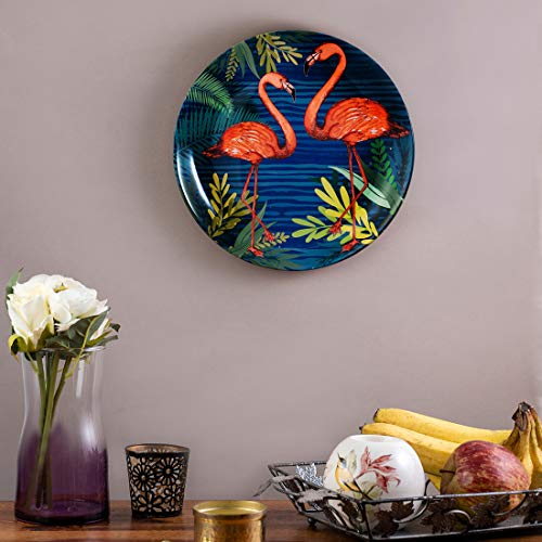 KOLOROBIA Ceramic Beauteous Flamingos Inspired Home Decor Wall Plate (Blue_7 Inch X 0.7 Inch X 7 Inch)