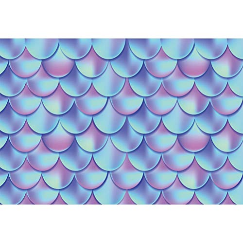 Laeacco 5x3ft Dazzling Gradient Color Mermaid Scales Vinyl Photography Background Cartoon Creative Mermaid Party Backdrop Child Kids Baby Birthday Party Banner Baby Shower Wallpaper