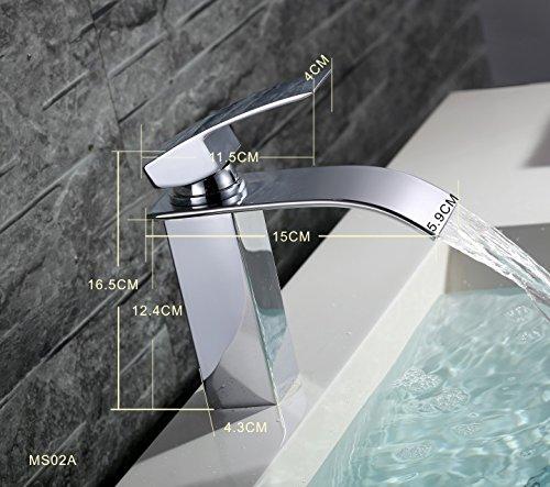 Homelody – Einhebel-Waschtischarmatur, ohne Ablaufgarnitur, Wasserfallarmatur breite Form, Chrom - 6