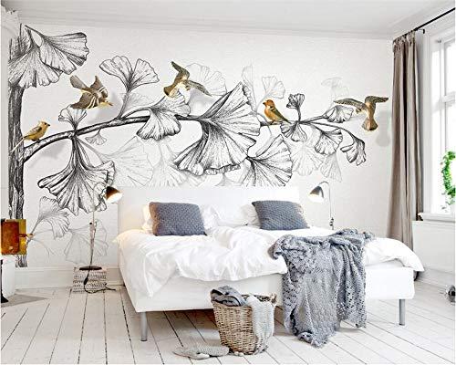 Leekkoka muurschildering behang 3D huis decoratieve muurschildering stijl zwart & wit schets ginkgo blad 3D vliegen tv muur achtergrond muurschildering 290cm*235cm(H)