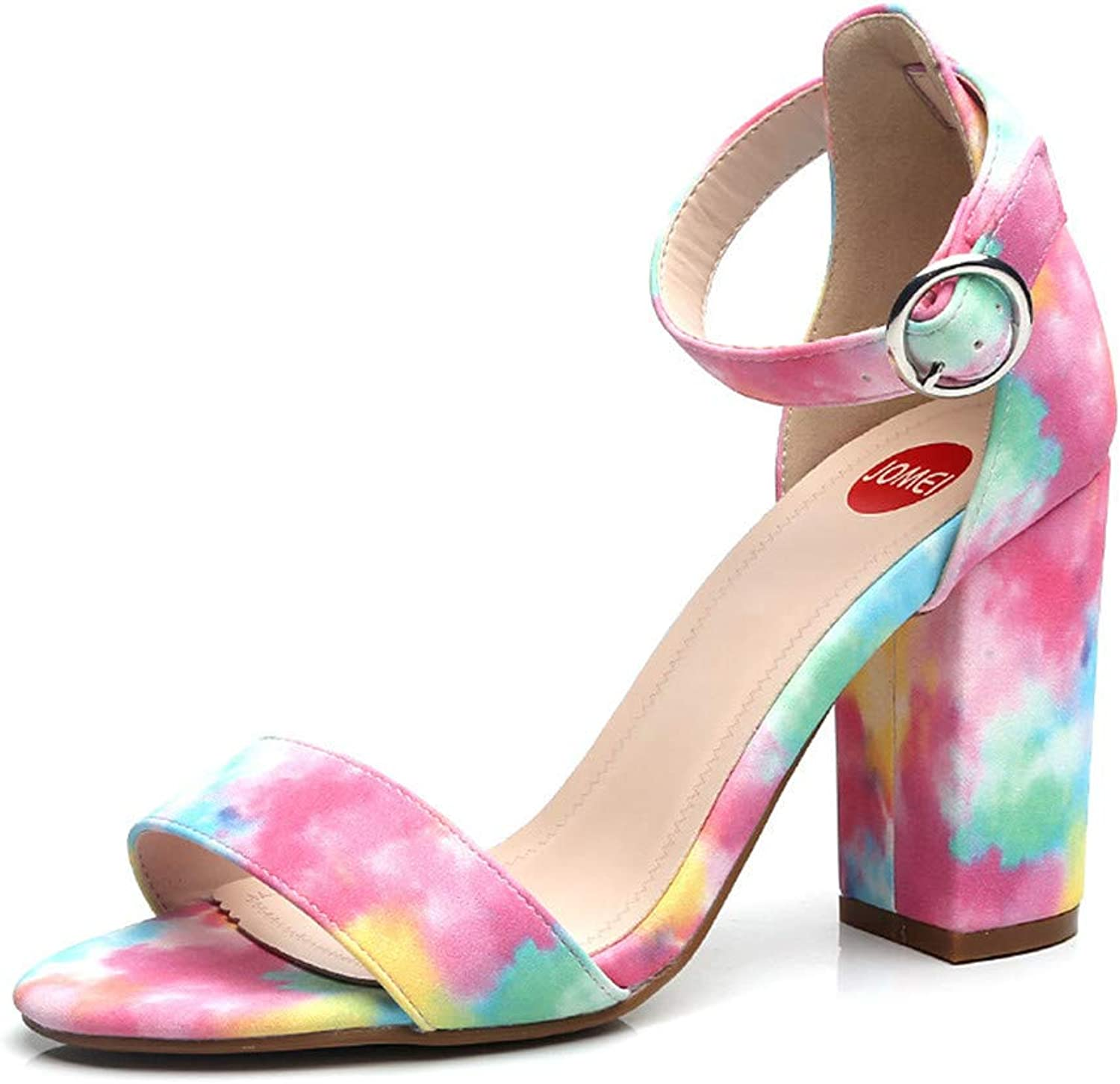 Rough-Heeled Sandals Rainbow color Buckle Ladies Party Date High-Heeled shoes Fashion