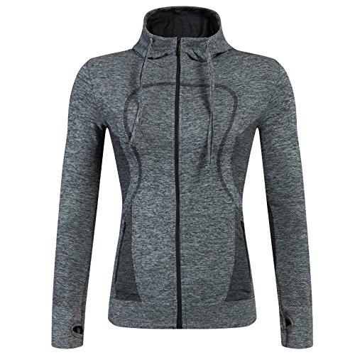 Selighting Giacca Sportiva con Zip per Donne Felpa Vestito Sportivo con Fori per Le Dita per Yoga Fitness Running Escursionismo Montagna Viaggio (M, Grigio)