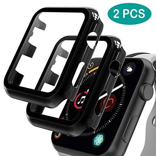 GeeRic 2PCS Pellicola Vetro Temperato Compatibile per Apple Watch 42mm Serie 3/2/1 HD Cover Resistente Urti Pellicola Copertura Completa Custodia Compatibile per Apple Watch 42mm Serie 3/2/1 Nero