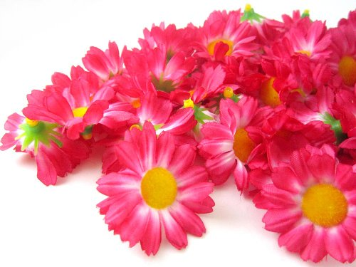 (100) Silk Hot Pink Gerbera Daisy Flower Heads , Gerber Daisies - 1.75 - Artificial Flowers Heads Fabric Floral Supplies Wholesale Lot for Wedding Flowers Accessories Make Bridal Hair Clips Headbands