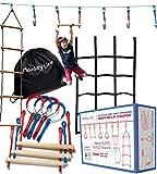Ninja Warrior Obstacle Course for Kids – Ninja Slackline Obstacle Course for Kids Backyard – Ninja Warrior Training Equipment for Kids w/ 50 ft Slack Line, Monkey Bars, Rings, Monkey Net and More!