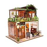 erhumama Miniatura arco iris barra de café muebles casa de muñecas kit de luces LED de madera cafetería tienda rompecabezas casa de muñecas juguete niños cumpleaños regalo de Navidad