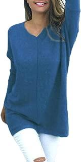 Women V Neck Solid Sweater Jumper Long Sleeve Knit Pullover Tops