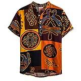 FossenHom Camisas Hombre Verano 2020 Camisa Hombres Manga Corta Casual, Algodón y Lino Estampadas
