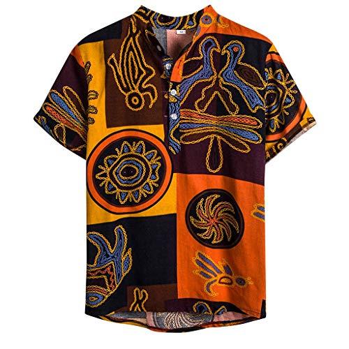 Xmiral Camicia Camicetta Uomo Etnico Manica Corta Casual Lino Cotone Stampa Hawaiana (M,6Giallo)