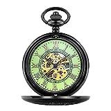 SKYEI Reloj de Bolsillo Elegante clásico.Reloj de Bolsillo - Los Accesorios de Moda de Aspecto Vintage están Grabados con un número Romano bellamente Estampado en la Parte Delantera y Trasera,Punk