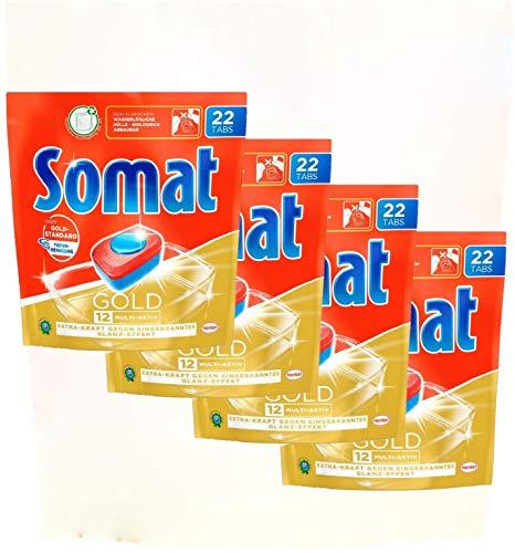 Somat 12 Gold Multi Aktiv, Spülmaschinentabs, Jahresvorrat, 88 (4 x 22) Tabs, Extra-Kraft gegen Eingebranntes und Glanz-Effekt