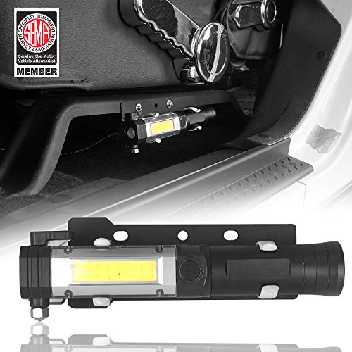 Hooke Road Outdoor Front Seat Flashlight Holder w/Flashlight (Batteries Not Included) for 2011-2018 Jeep JK Wrangler & Unlimited Sport Sahara Rubicon