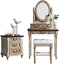 Dressing Table with Stool Bedside Table Matching Bedroom Furniture Painted Hand-Painted Retro Classic Style 47X16x61in,Sil...
