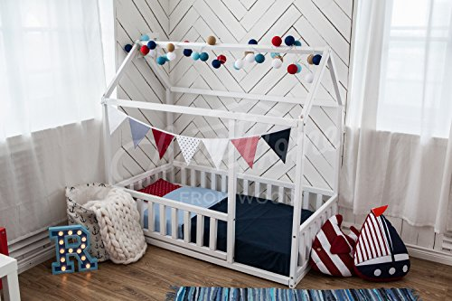 cama montessori infantil casita, el color blanco (140x70cm)
