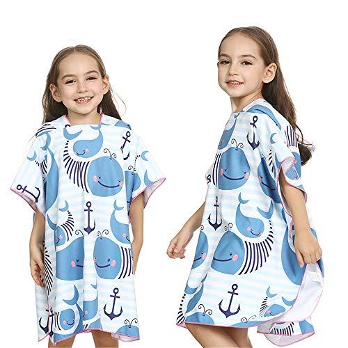 MOMIN-HM Kinder Umhang Strandtuch Children Blue Stripes Badetuch mit Kapuze Poncho schnell trocknend Strandtuch zum Surfen, Schwimmen, Tauchen, Neoprenanzug (Größe : M(90-120cm))
