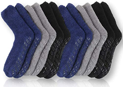 Pembrook Non Skid Socks - Hospital Socks - (6-pack) 2 Black / 2 Navy / 2 Gray. Great for adults, men, women. Designed for medical hospital patients but great for everyone