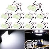 TABEN Blanco ahorro de energía 5630 48-SMD LED panel cúpula luz auto placa de lectura interior del coche luz techo techo interior con cable+T10 BA9S Festoon adaptadores DC 12V (paquete de 10)