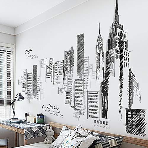 Grandes pegatinas creativas de la ciudad, la sala de estar dormitorio pared decoración pegatinas, paredes en blanco y negro, papel pintado de edificio autoadhesivo
