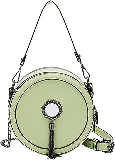 Portable Retro New Novel Exquisite Trendy Casual Fashion Durable Portable Slung Shoulder Single Small Round PU Handbag (Color : Green)