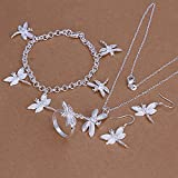 HMANE 925 Plata joyería Conjunto Dragonfly Collar Cadenas Anillo Pulsera Gota Pendiente para Las Mujeres Boda Anillo de joyería tamaño 8