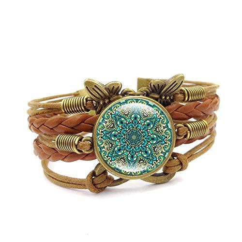 Pulsera de estilo europeo estilo retro joyería de Datura flores de cristal piedra preciosa de la hora de la pareja pulsera hecha a mano de cuero tejido multicapa pulsera adecuada para hombres/mujeres