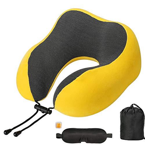 WEISY reiskussen Memory Foam, draagbaar U-vormig nekkussen en comfortabel luchtkussen hoofdkussen voor vliegtuig, auto, huis, kantoor gebruik
