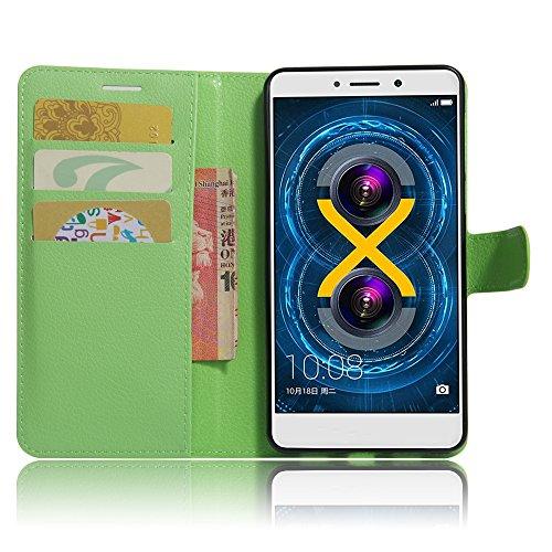 XMT Huawei Honor 6X 5.5' Custodia,Premio PU Custodia in Pelle con Wallet Case Cover per Huawei Honor 6X Smartphone (Verde)