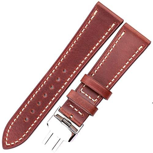 ZZDH Correa Reloj Cuero Mira la Correa 18 20 22 Accesorios de Relojes Retro de 24 mm para Mujeres y Hombres (Band Color : Brown, Band Width : 22mm)