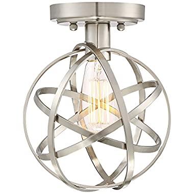 Industrial Atom 8  Wide Brushed Nickel LED Ceiling Light