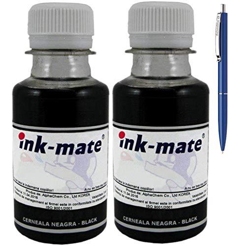 Ink-Mate Recambio de botella de tinta compatible para HP CB316EE (364), 2 unidades de 100 ml, color negro y bolígrafo Schneider