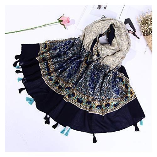 Bufandas de la manera Cuatro estaciones de la tela cruzada de la bufanda Mujer Estilo étnico colgando anacardo flor hecha a mano de la barba bufanda mantón del aire acondicionado